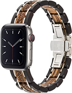 Wooden Watch Band Compatible with Apple Watch, Eco-Friendly Natural Wooden Watch Strap Engraved Wrist Bracelet for iWatch Series 4, 3, 2, 1, 42MM, 44MM (Ebony & Zebra)