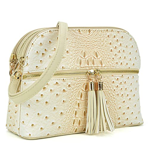 66078afb919 Image Unavailable. Image not available for. Color  Dasein Women s Ostrich Lightweight  Medium Dome Crossbody Bag for Ladies with Tassel (Beige)