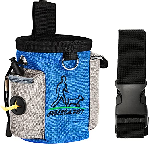 CestMall Dog Treat Pouch Pet Training Bag with Adjustable Waist Strap and Poop Bag Dispenser Easily Carries Treats, Kibbles Dog Treat Pouch for Training