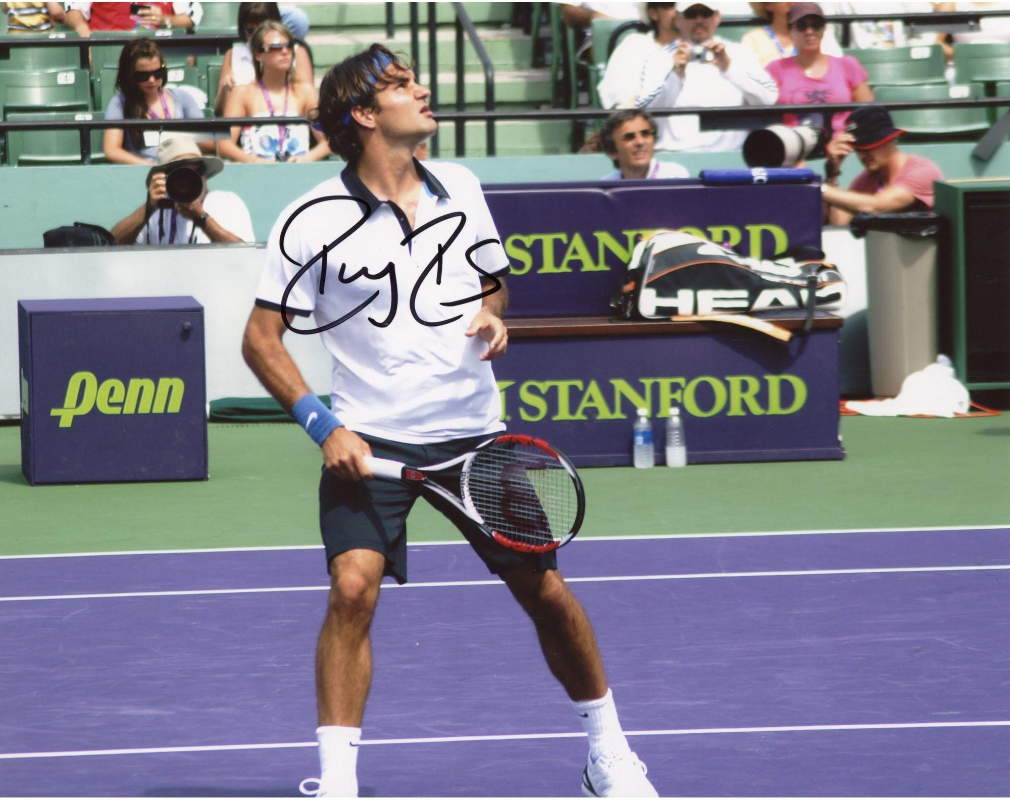 """Roger Federer Autographed 8"""" x 10"""" Looking Up Photograph Fanatics Authentic Certified Autographed Tennis Photos"""