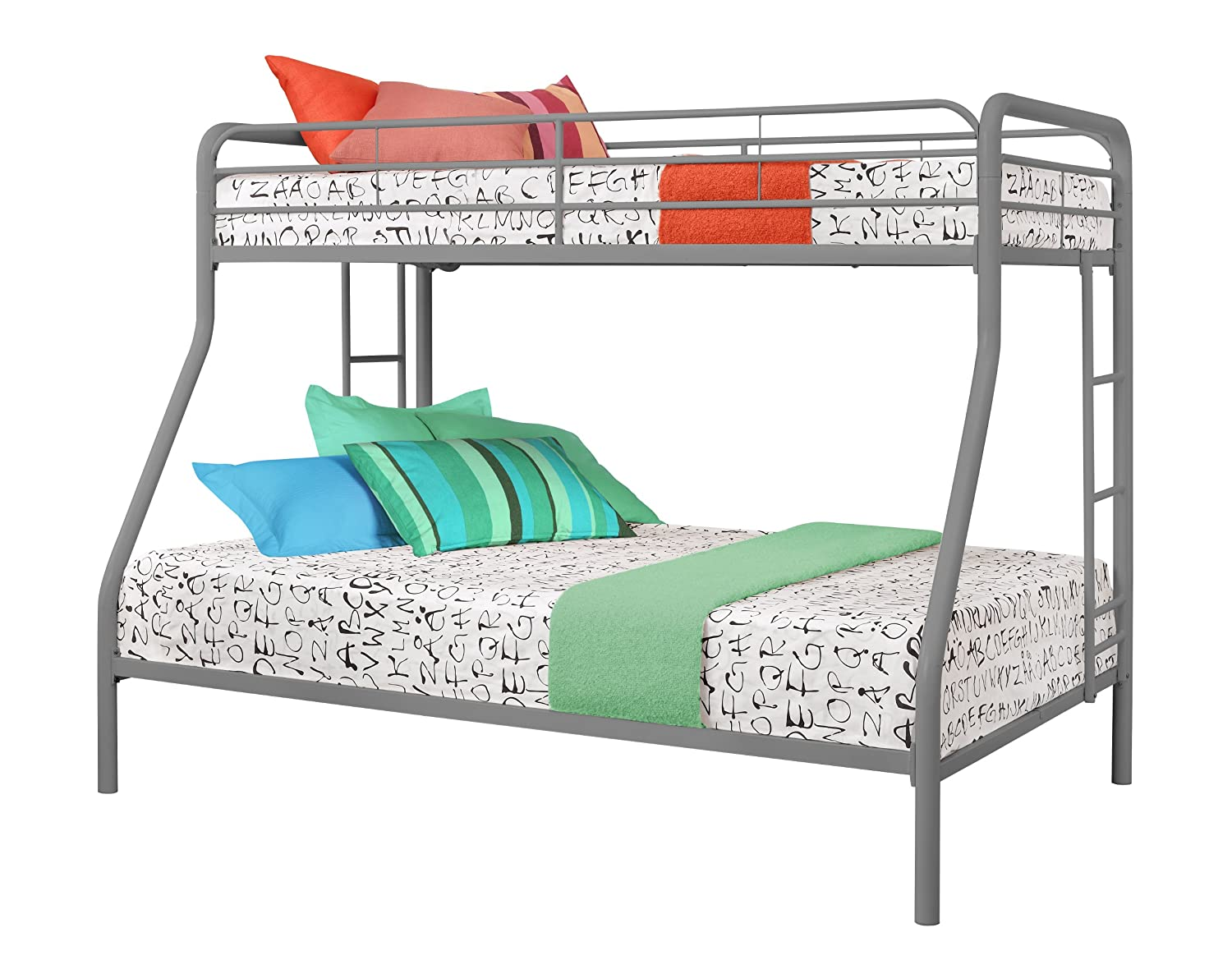 Amazon DHP Twin Over Full Bunk Bed With Metal Frame And Ladder Space Saving Design Silver Kitchen Dining