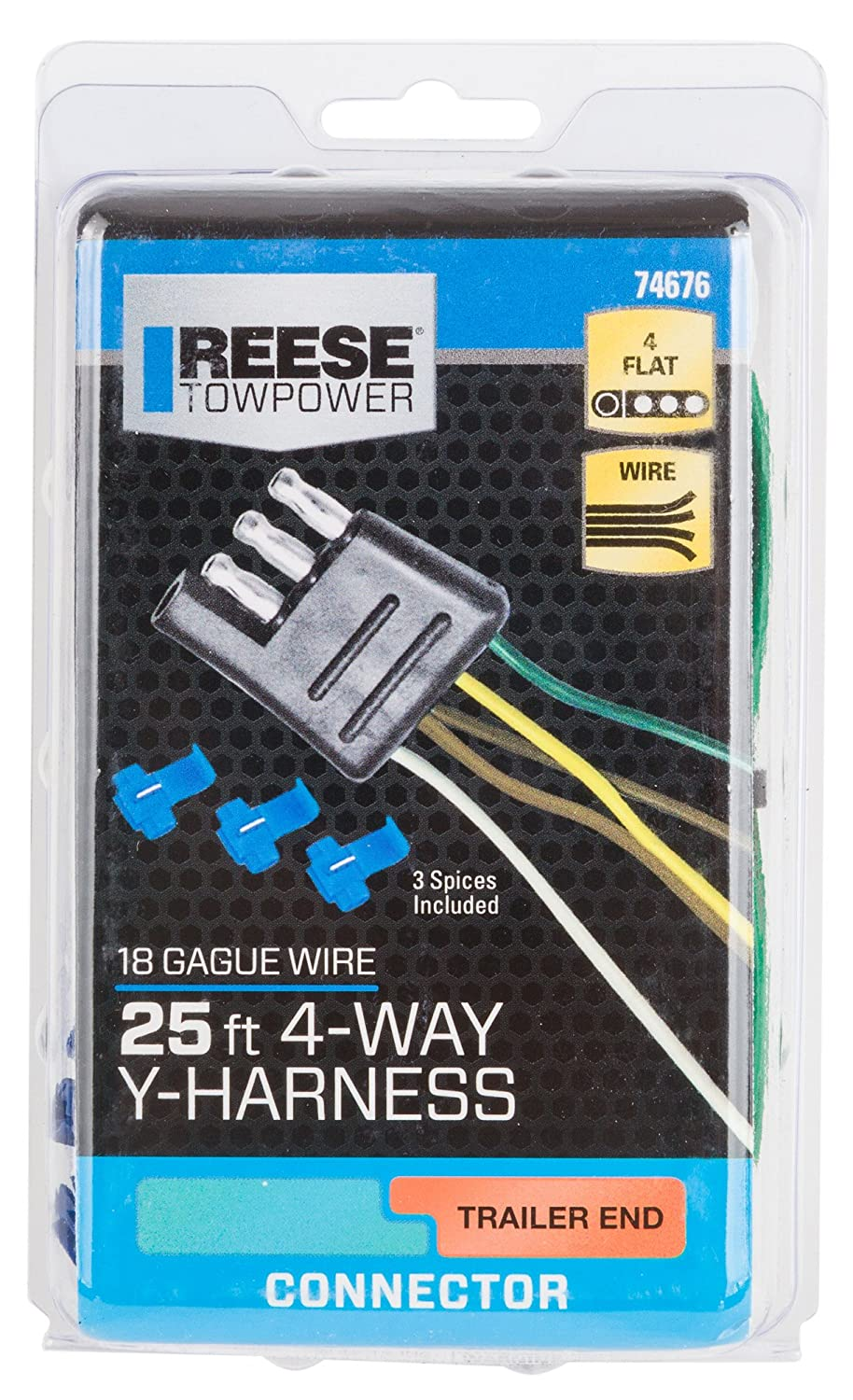 Amazon.com: Reese Towpower 74676 25\' 4-Way Flat Wishbone Trailer ...