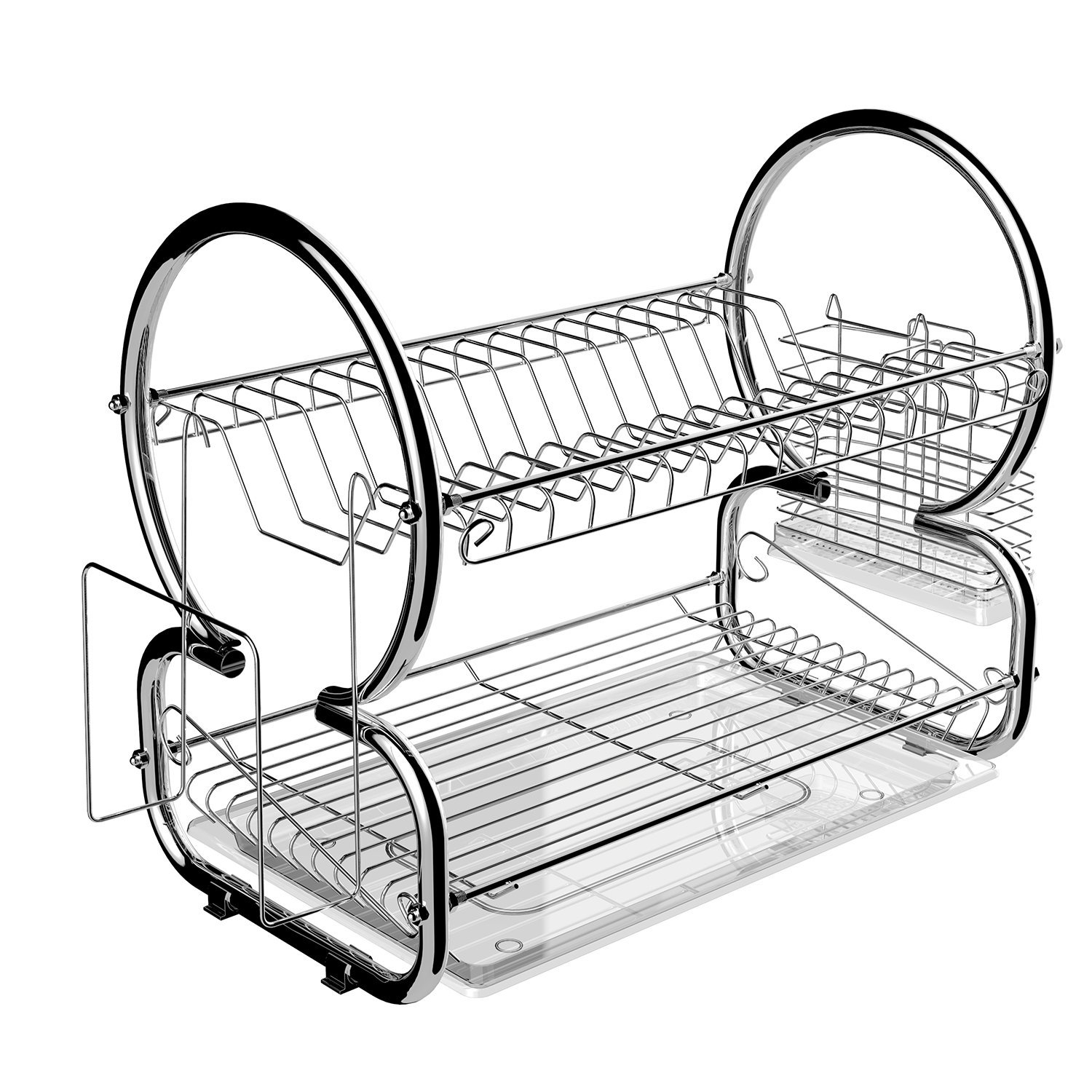 Stainless Steel 2 Tier Dish Rack Kitchen Cup Drainer Rack With Removable Plastic Drainboard (Sliver)