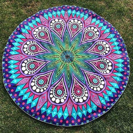 LHWY ImpresióN Redonda Hippie Tapiz Beach Picnic Tirar Yoga Mat Toalla Manta (Azul Cielo)