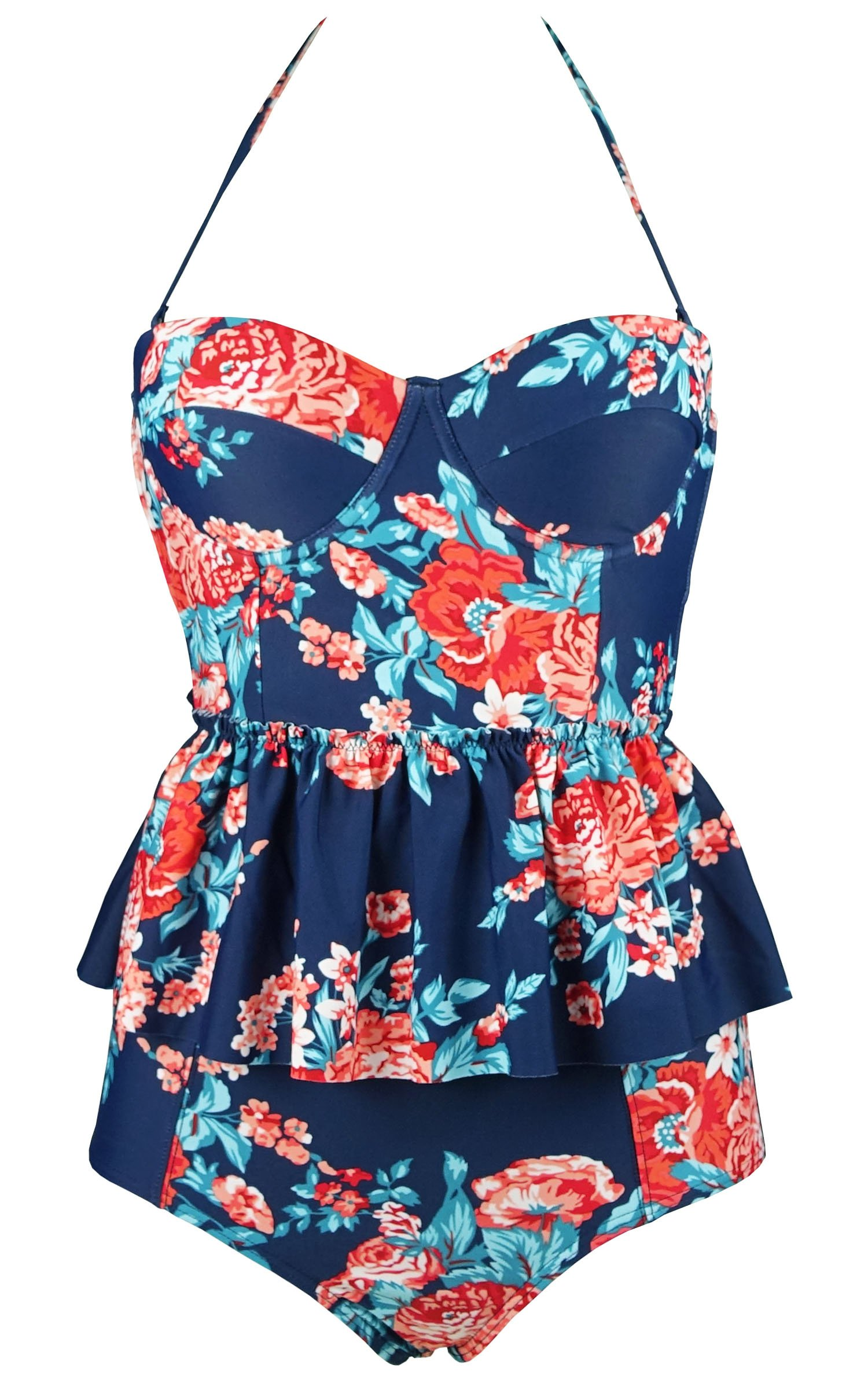 COCOSHIP Red Pink & Navy Blue Antigua Floral Peplum Women's Retro Push up High Waist Bikini Set Chic Swimsuit Swimwear S(FBA)