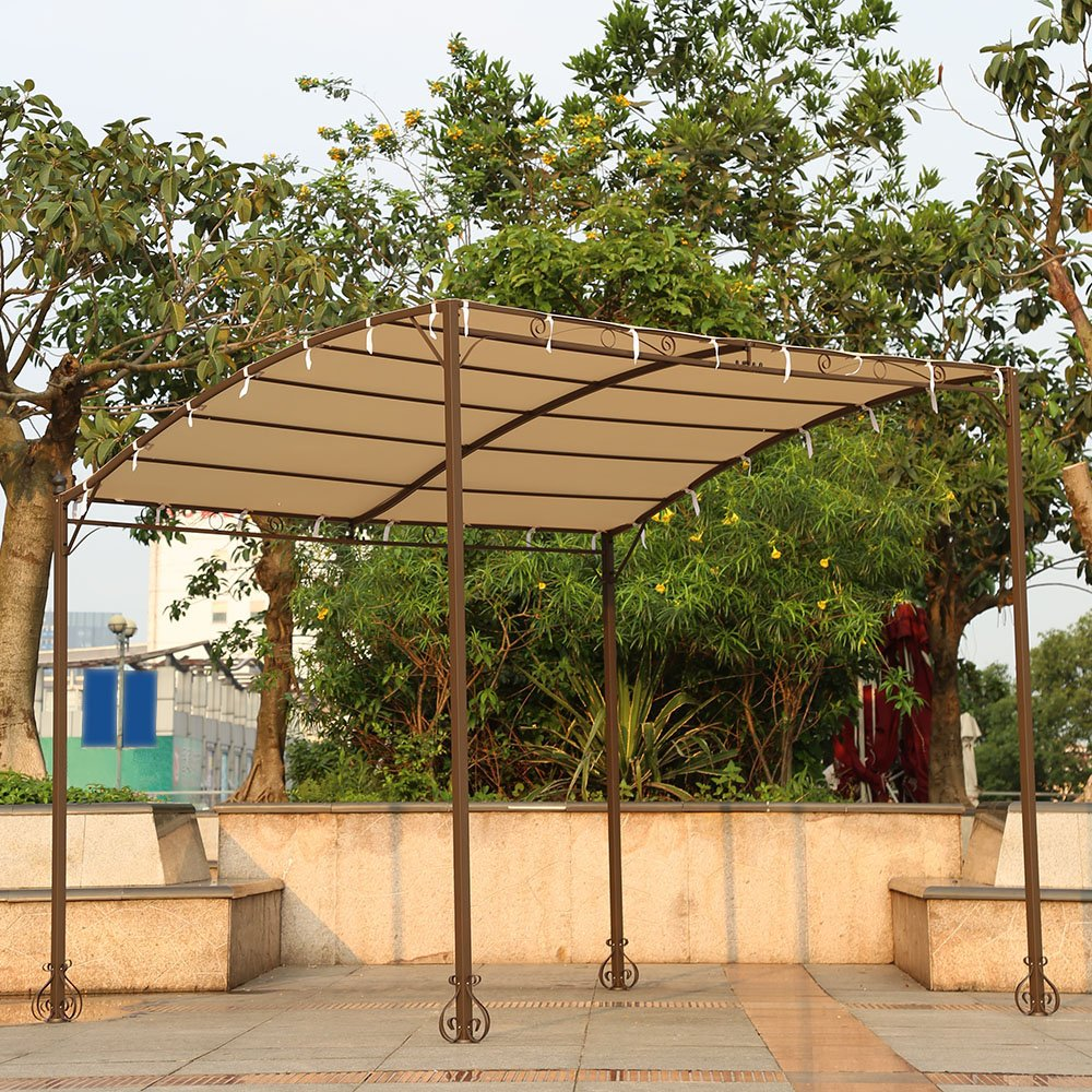 Amazon.com  IKAYAA Metal Patio Garden Outdoor Gazebo Canopy Sun Shelter  Garden u0026 Outdoor & Amazon.com : IKAYAA Metal Patio Garden Outdoor Gazebo Canopy Sun ...