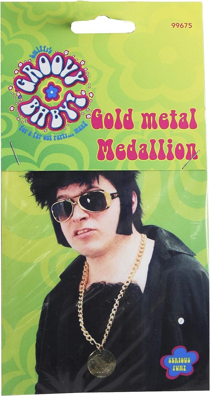 Smiffys Medaglione di metallo dorato su catena