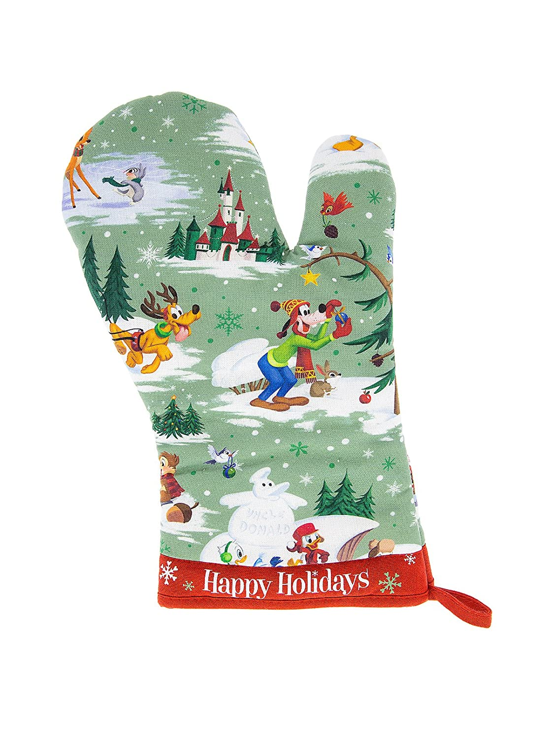 Disney Parks Mickey Mouse and Pals Christmas Holiday Oven Mitt Happy Holidays