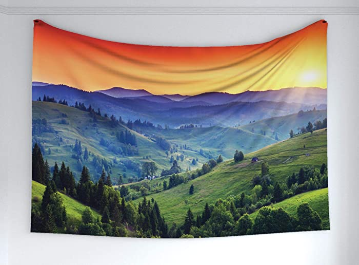 """Ambesonne Mountain Tapestry, Colorful Sunset in European Countryside Landscape Rural Trees Greenery, Fabric Wall Hanging Decor for Bedroom Living Room Dorm, 60"""" X 40"""", Orange Green"""