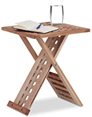 Relaxdays Folding Side Table, Foldable Coffee Table Walnut, Small Nightstand, Square, HWD: 40.5 x 33 x 33 cm, Natural