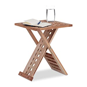 Relaxdays Plegable Mesa Auxiliar, Plegable Mesa de café, de Madera de Nogal pequeña mesita de Noche, Cuadrado, HWD: 40,5x 33x 33cm, Natural