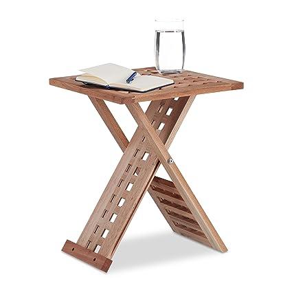 Tavolini Salotto Pieghevoli.Relaxdays 10021328 Tavolino Da Salotto Pieghevole Legno Noce Quadrato Hxlxp 40 5 X 33 X 33 Cm Marrone Chiaro