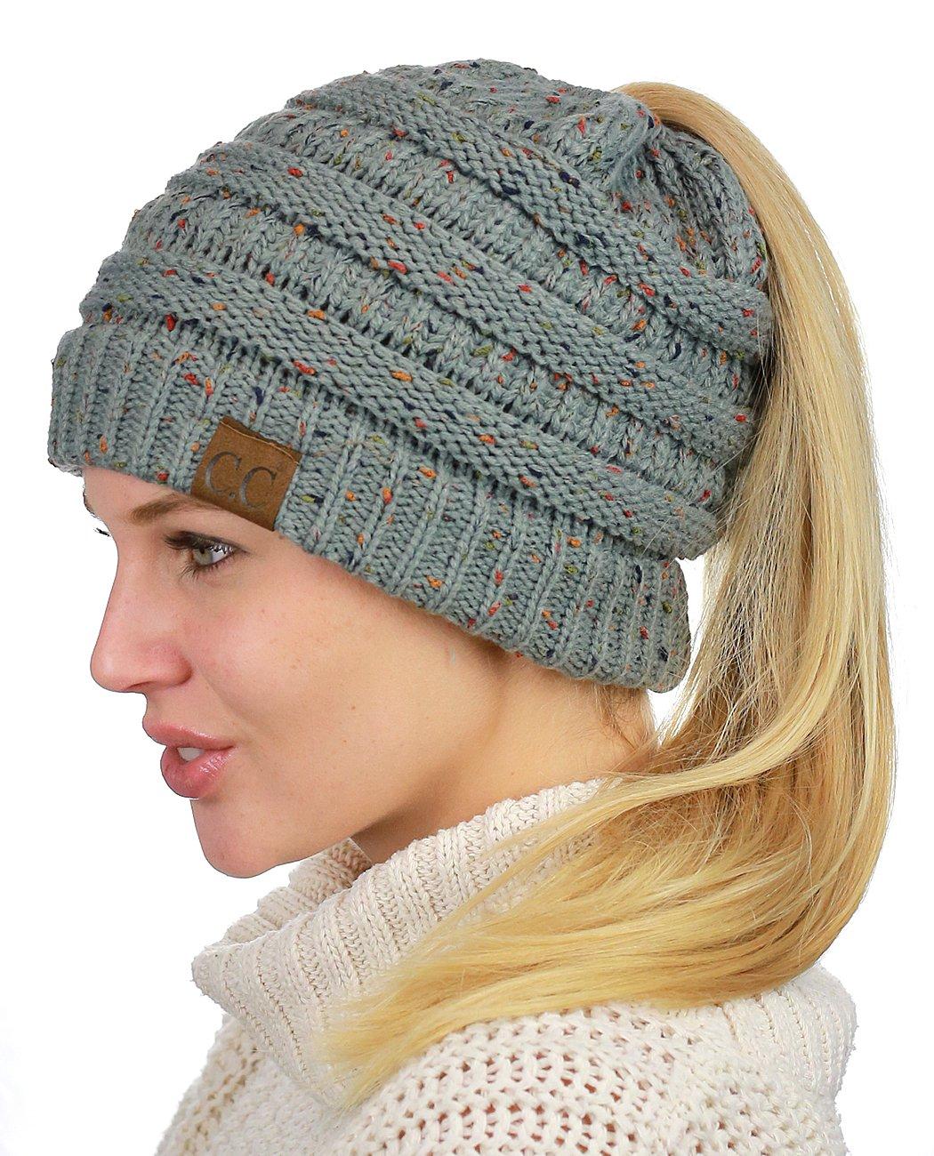 974a517d2c0 C.C BeanieTail Soft Stretch Cable Knit Messy High Bun Ponytail Beanie Hat