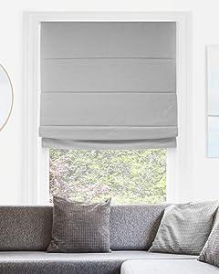 "CHICOLOGY Cordless Roman Shades Modern Fabric Cascade Window Blind Treatment, 23"" W X 64"" H, Del Mar Pearl Grey (Blackout)"