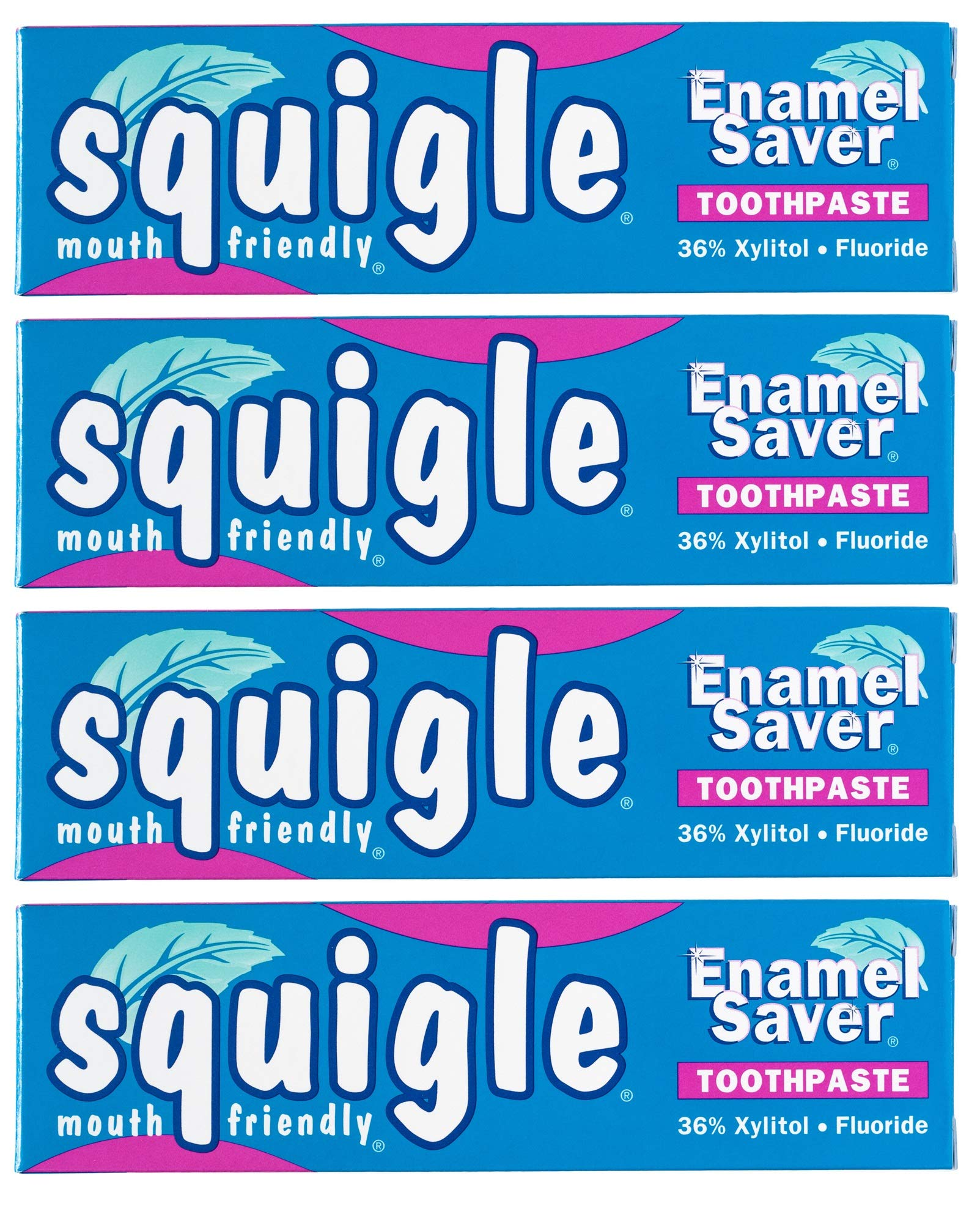 Squigle Enamel Saver Toothpaste (Helps Prevent Canker Sores, Perioral Dermatitis, Bad Breath, Chapped Lips) - 4 Pack