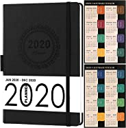 2020 Planner, Weekly/Monthly Planner, Saffiano Leather with Thick Paper, Back Pocket with 88 Notes Pages, 5.75