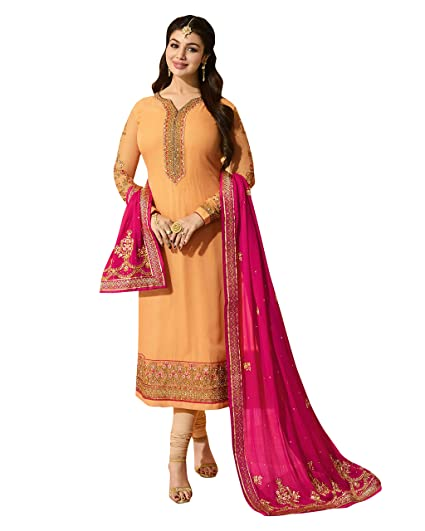 02791cf7ea Paridhanlok Beautiful Designer Georgette Unstitched dress material Straight  Suit Traditional Churidar in Light Orange Color 31: Amazon.in: Clothing &  ...