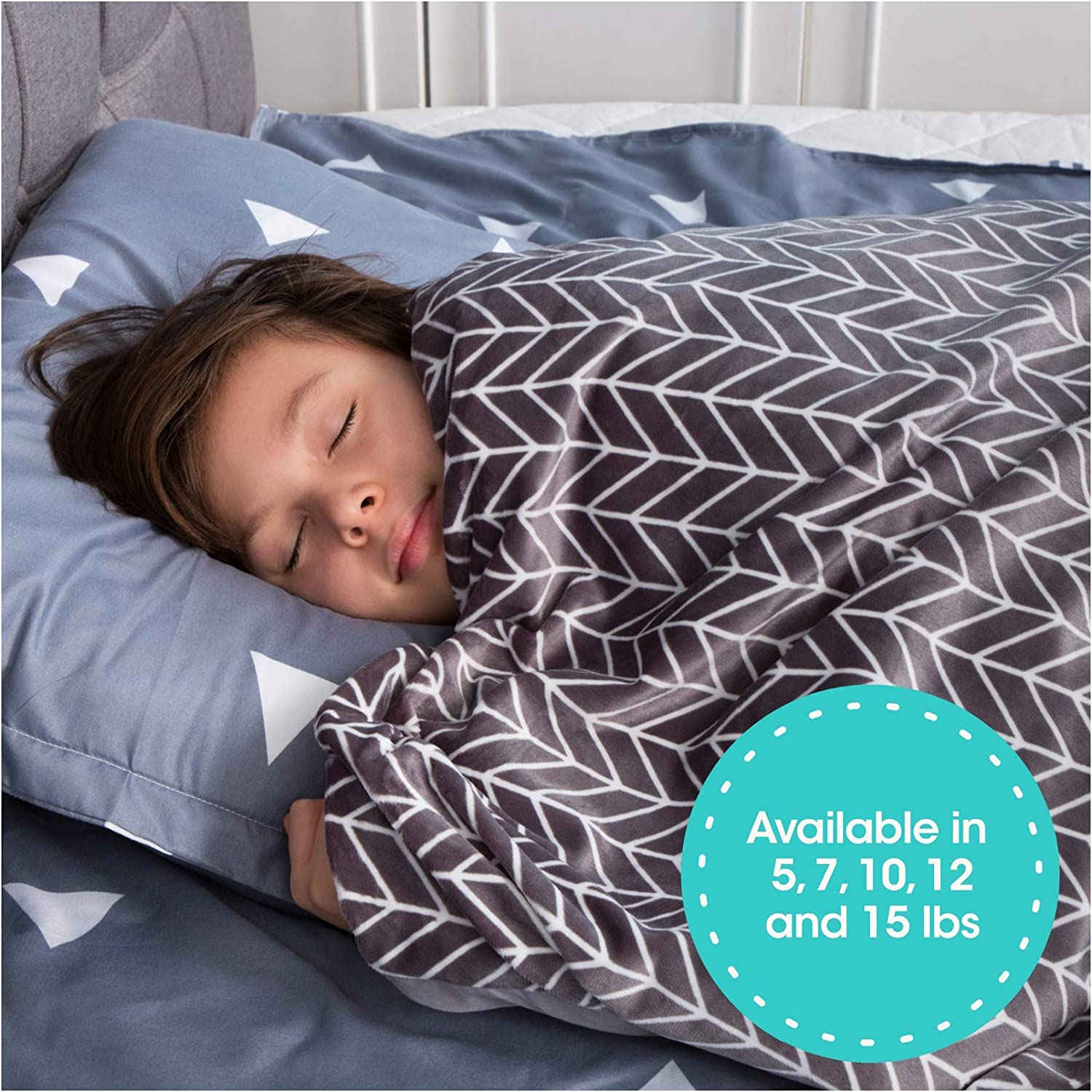 """Florensi Weighted Blanket for Kids with Removable Bamboo Duvet Cover (5 Lbs & 36"""" x 48""""), 5 Pounds Weighted Comforter, Twin Size, Cooling Blanket for Kid Baby Toddler Teenager, Machine Washable Cover"""