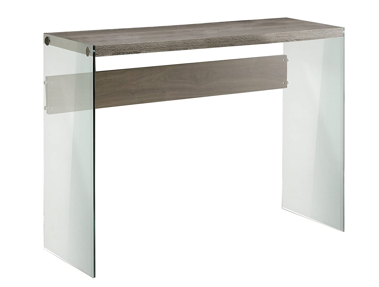 amazoncom monarch reclaimedlooktempered glass sofa table dark  - amazoncom monarch reclaimedlooktempered glass sofa table dark taupekitchen  dining