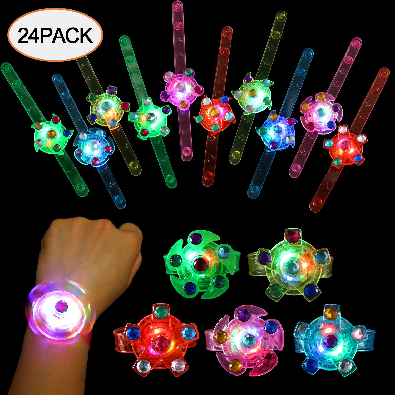 SCIONE Party Favors for Kids 24 Pack Light Up Bracelets Classroom Prizes Box Glow in The Dark Party Supplies Girls Boys Birthday Halloween Christmas Party Favor Wristband LED Fidget Toys Bulk by SCIONE