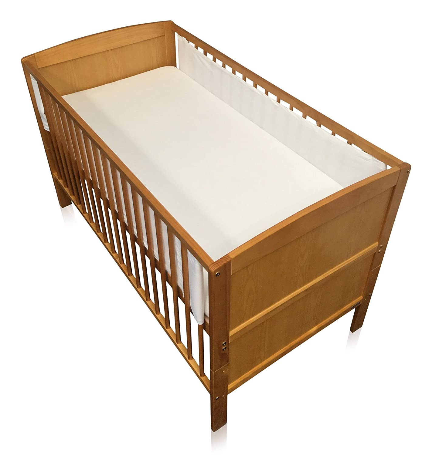 Breathe Easy Air Mesh Solid End Cot Bed Liner Set 2 Sided Unisex Nursery Cot Bed Bumper White 2 x Liners Each 150cm x 28cm (for Solid End Cots As Pictured) Babycurls