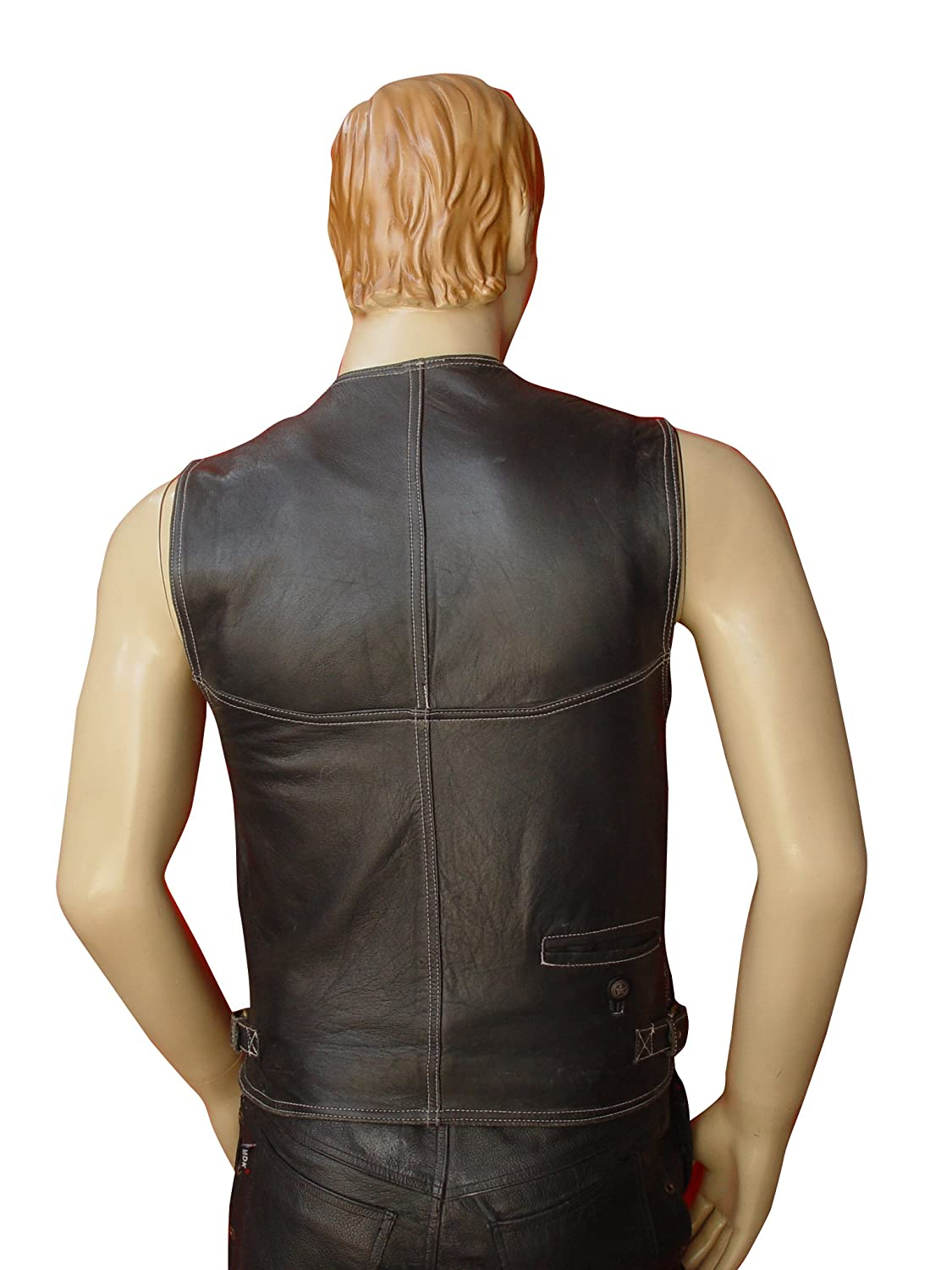 Bespoke Tailored Leather Hunting Vest With White Stitching