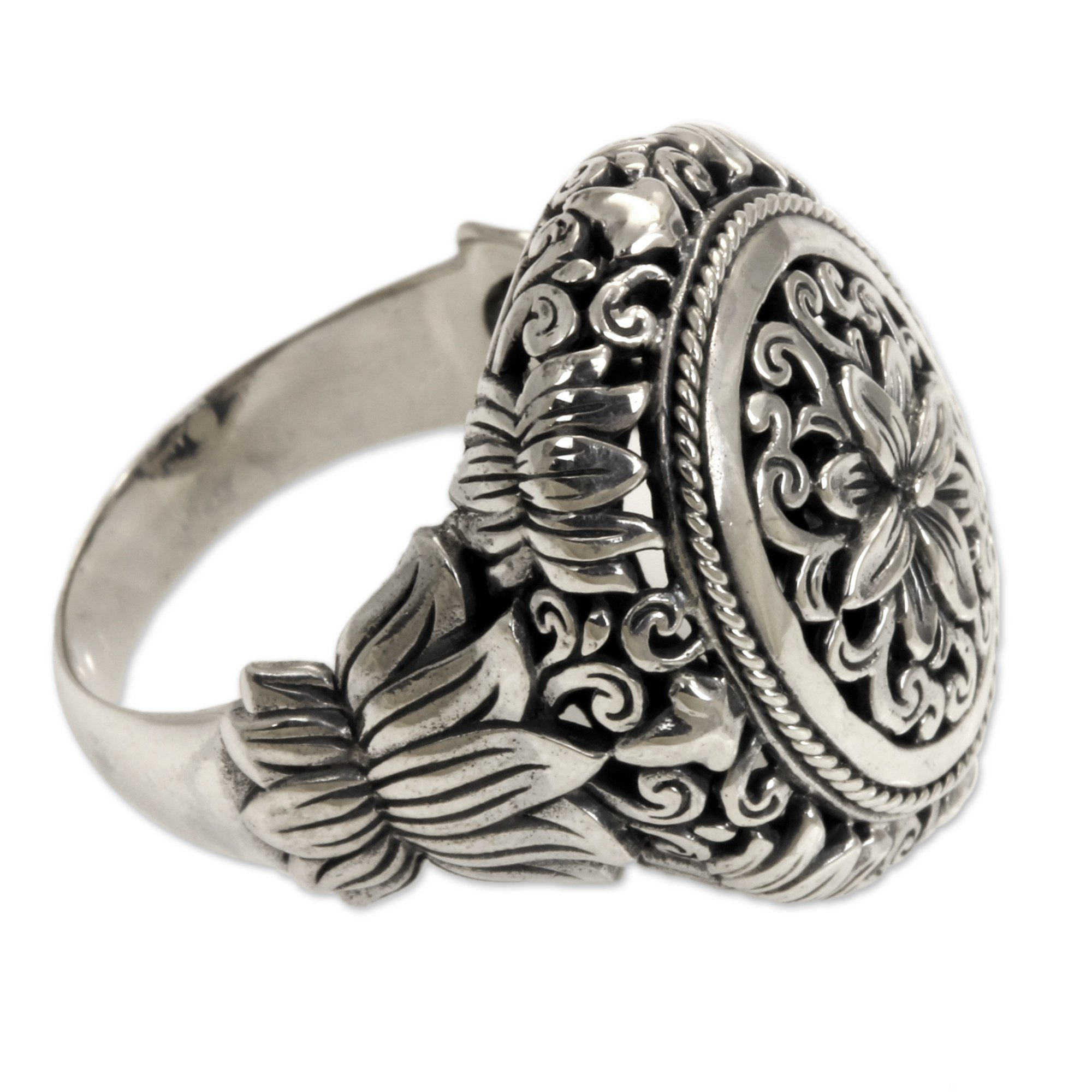 NOVICA .925 Sterling Silver Hand Made Floral Cocktail Ring, 'Precious Lotus'