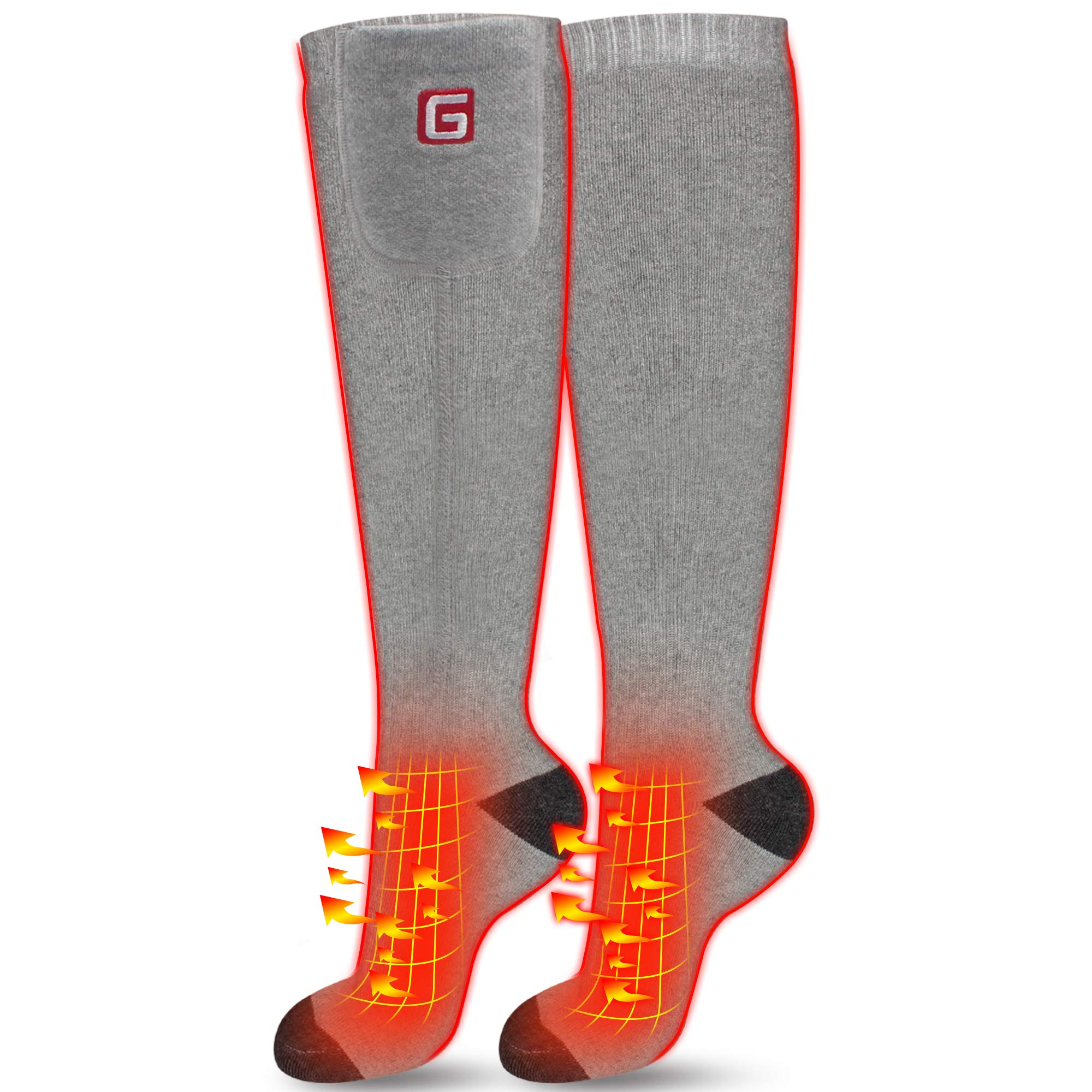 IFWATER Electric Heated Socks for Women Men, Rechargeable Electric Socks Battery Heated Socks Foot Warmer for Chronically Cold Foot, Great for Skiing Hiking Motorcycling Warm Winter Socks(Gray-L) by IFWATER