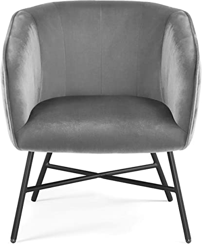 Topeakmart Modern Accent Barrel Chair Living Room Chair Velvet Accent Armchair