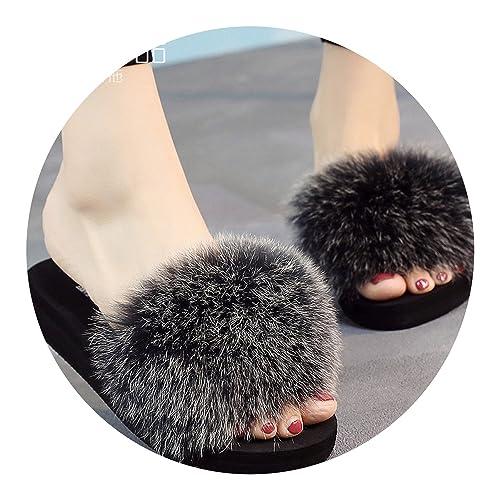 64dd3fcb63e87 Amazon.com | Fox Fur Slippers Real Fur Slides Flat Thick Heel Beach ...