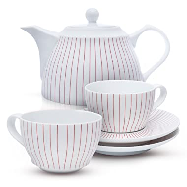 Tea Branch Fine Porcelain Tea Set With Teapot, Tea Cups And Saucers, 1200 ml 40 oz Tea Coffee Pot For Anniversary and Wedding Gifts For The Couple, Ceramic, 6 Pieces, Red and White