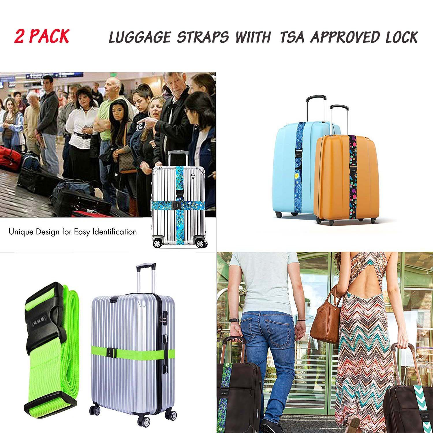 YEAHSPACE Travel Luggage Strap Love A Nurse 2-Pack Adjustable Suitcase Packing Belt with TSA Combination Lock by YEAHSPACE (Image #6)