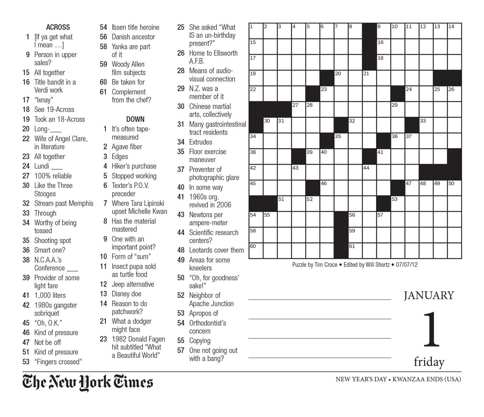The New York Times Crossword Puzzles 2016 Day To Day Calendar