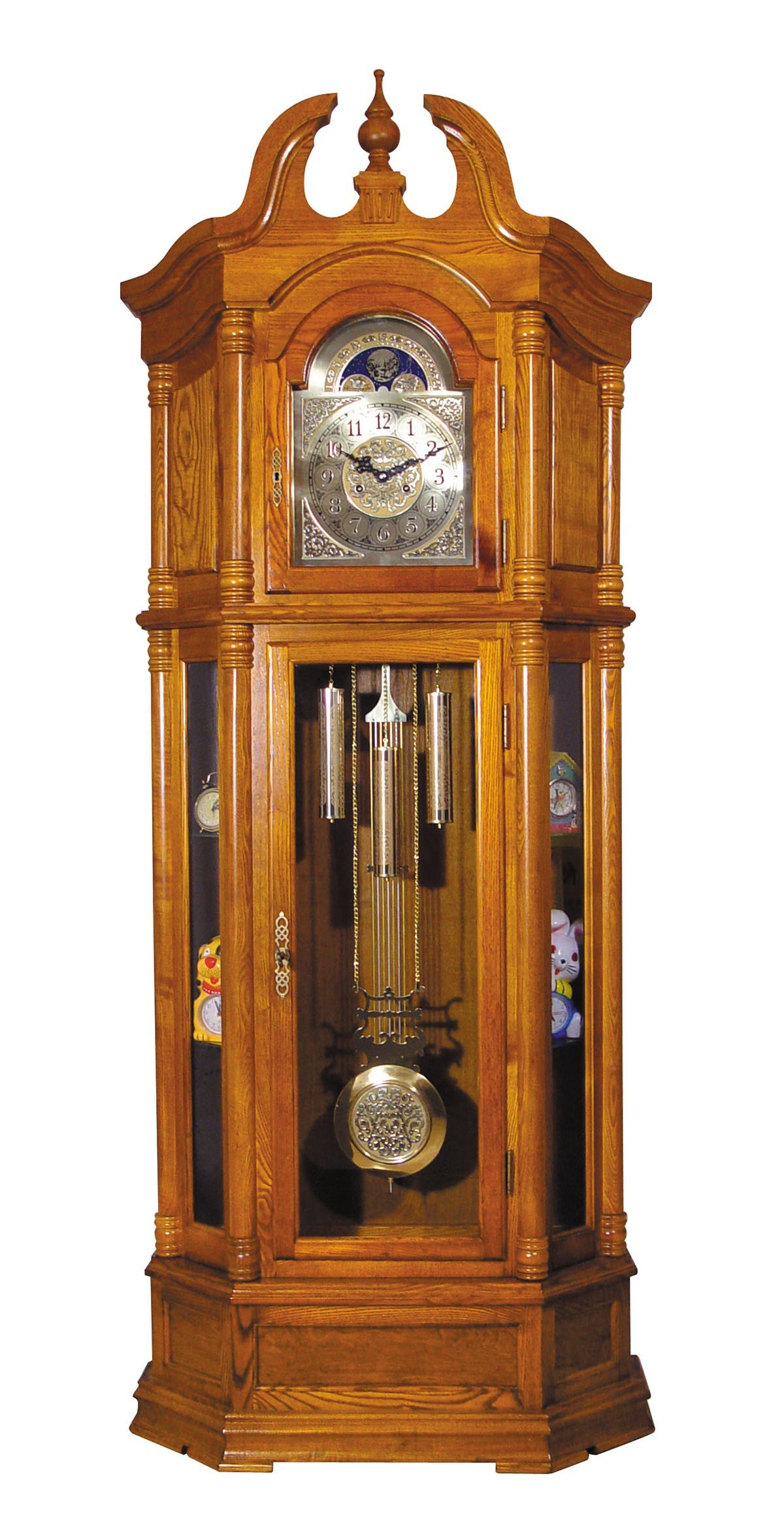Major-Q 9001410 84'' H Traditional Style Oak Finish Key Wound Mechanicla Movement Block Footing Grandfather Floor Clock by Major-Q
