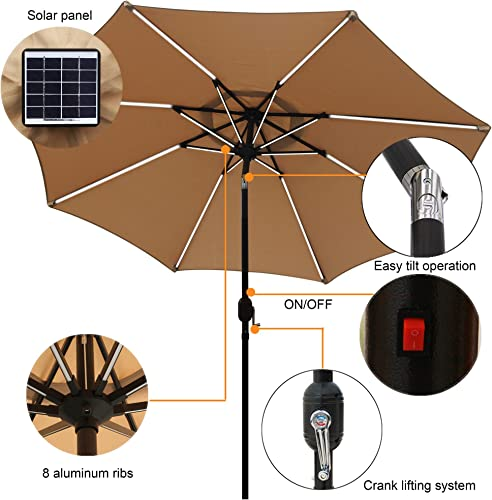 Sfozstra 9 ft Solar Powered LED Lighted Umbrella Patio Umbrella Table Market Umbrella with Push-Button Tilt Crank, Outdoor Market Umbrella Garden Umbrella, 16 LED Tubes Tan