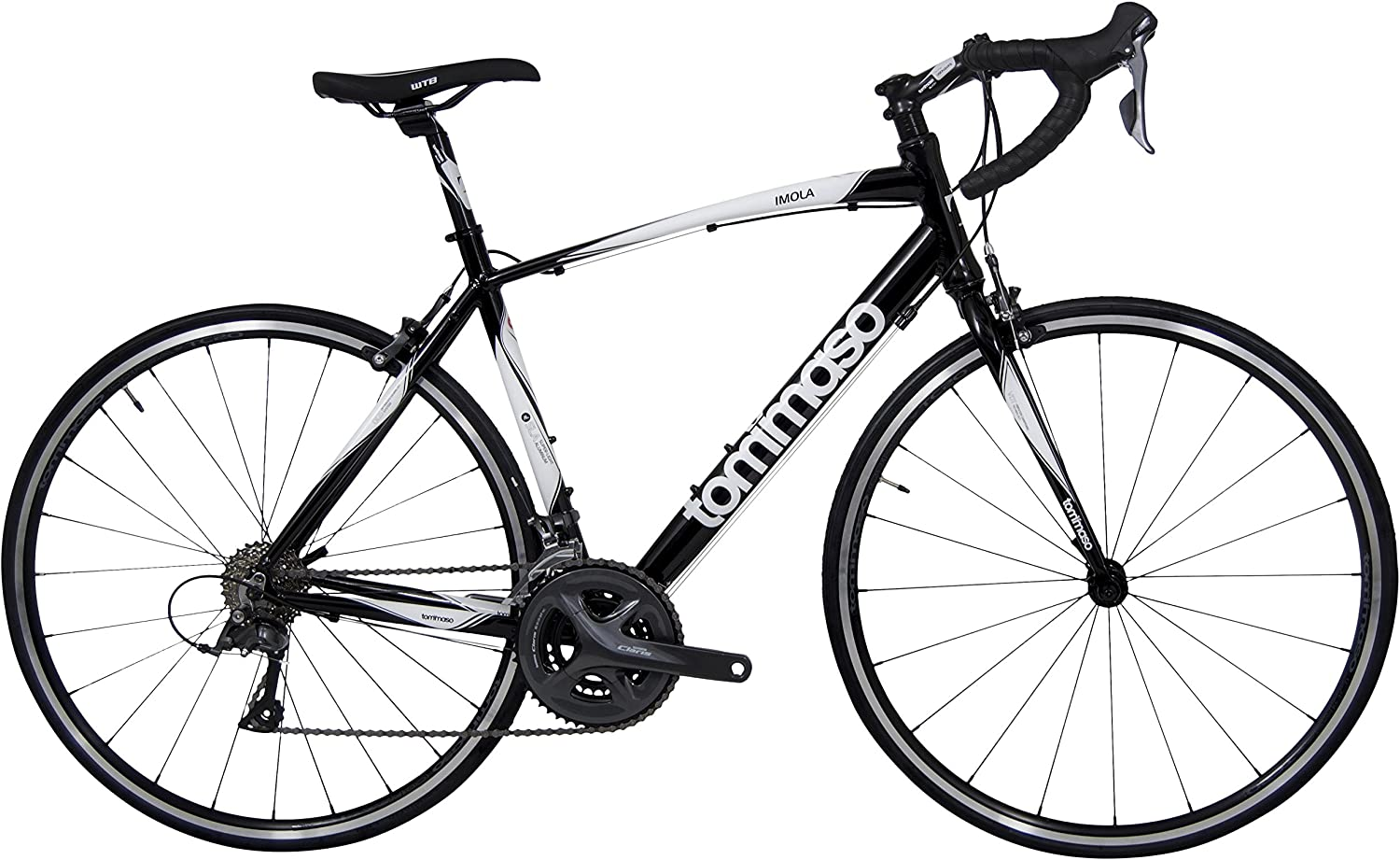 Tommaso Imola Endurance Aluminum Road Bike, Shimano Claris R2000, 24 Speeds, Black, White, Burnt Orange