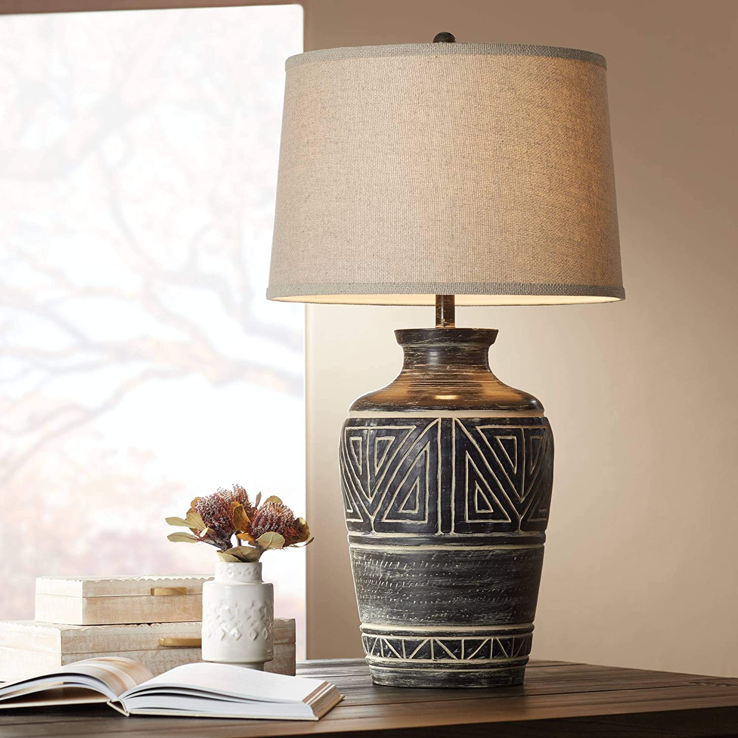 Miguel Rustic Southwestern Style Table Lamp Earth Tone Jar Linen Fabric Drum Shade Decor for Living Room Bedroom House Bedside Nightstand Home Office Entryway Reading Family - John Timberland