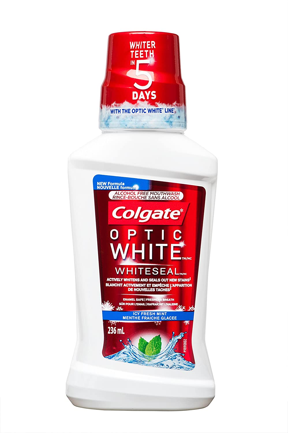 Colgate Optic White Icy Fresh Mint Alcohol Free Mouthwash, 236 mL 313679
