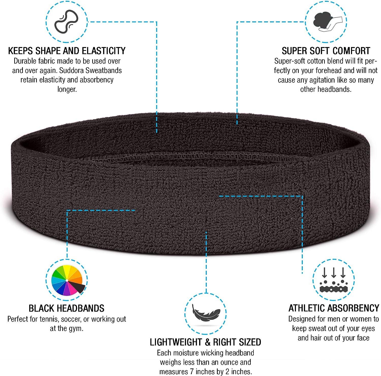 Suddora Head Sweatbands Athletic Cotton Terry Cloth Headbands for Sports