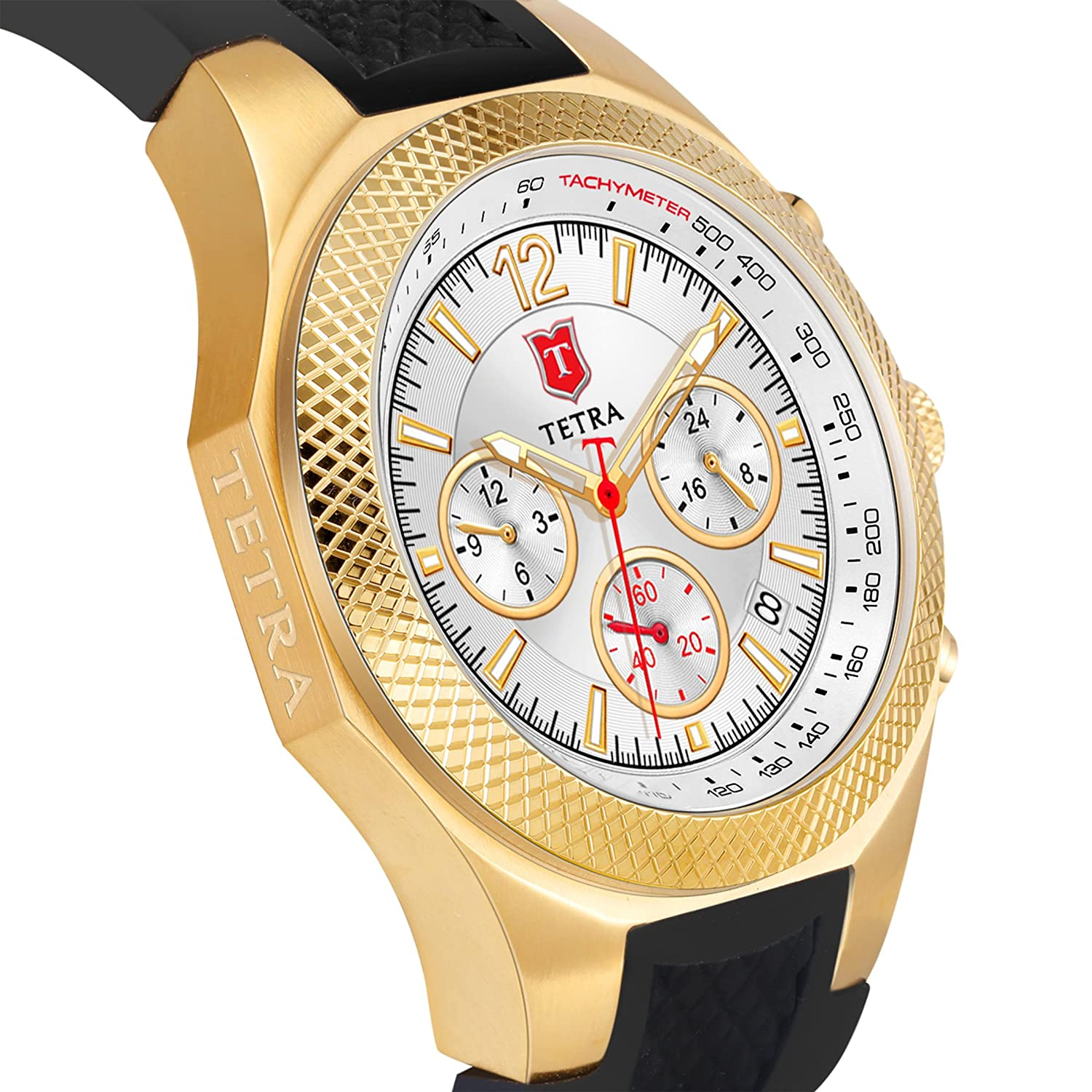 Tetra Men s Gold Plated Italian Design Special Aventura Sport Edition Dual-Time Swiss Luminous Watch with Professional Water Resistance of 330 Ft Luxury Gift Box Included