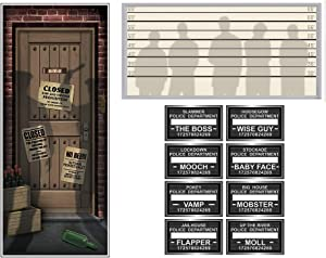 Speakeasy and Gangster Photo and Décor Bundle   Includes Door Cover, Mug Shot Signs, and Lineup Insta-View