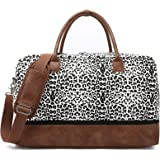 Weekender Bag with Shoe Compartment , Duffle/Duffel Overnight Bags for Women Travel, Large, Canvas, Duffle (Cowmooflage)