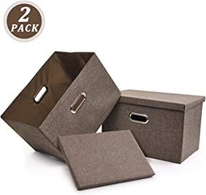 File Storage Box, Collapsible Decorative Linen Filing & Storage, Portable Office Document Organizer | Letter/Legal (2 PACK, Brown)