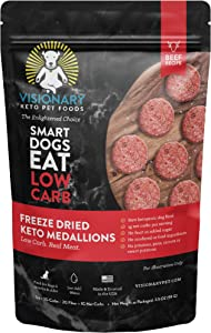 Freeze Dried Dog Food by Visionary Pet |Low Carb Keto Dog Food | Human-Grade Ingredients | Natural Beef Flavor | No Rendered/Feed Ingredients | Natural Dog Food for Lifelong Health (3.5oz)