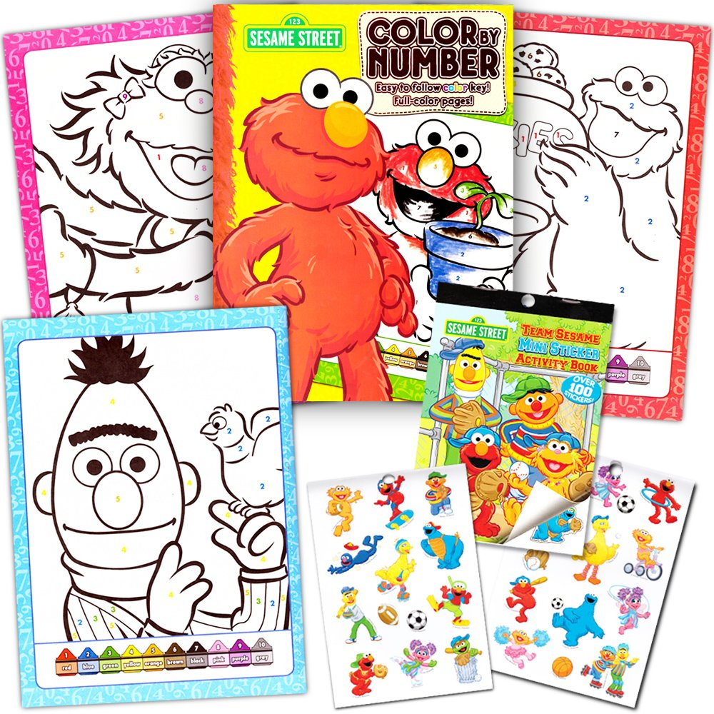 Sesame Street Stickers Toddler Coloring Book Set ~ Color By Number