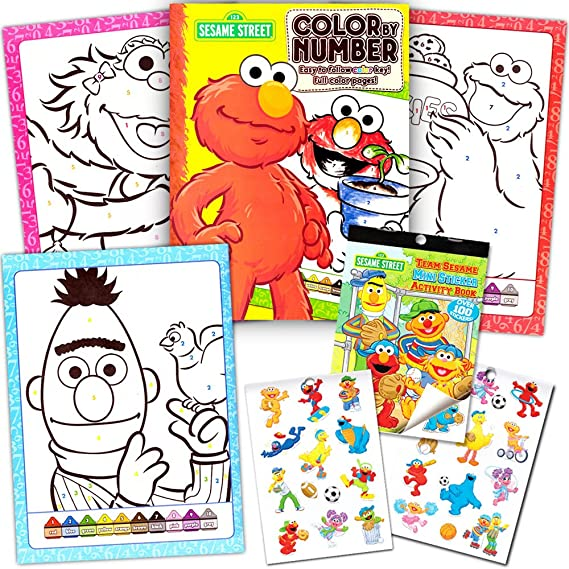 Amazon Sesame Street Stickers Toddler Coloring Book Set Color By Number Toys Games