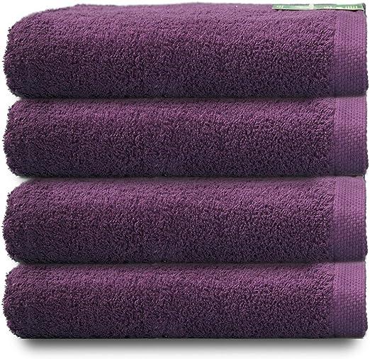 ADP Home - Pack Toallas 550 Grms 4 Piezas (Toalla Lavabo/Mano) 100% Algodón Peinado Color - Púrpura Talla - 50 x 100 cm: Amazon.es: Hogar