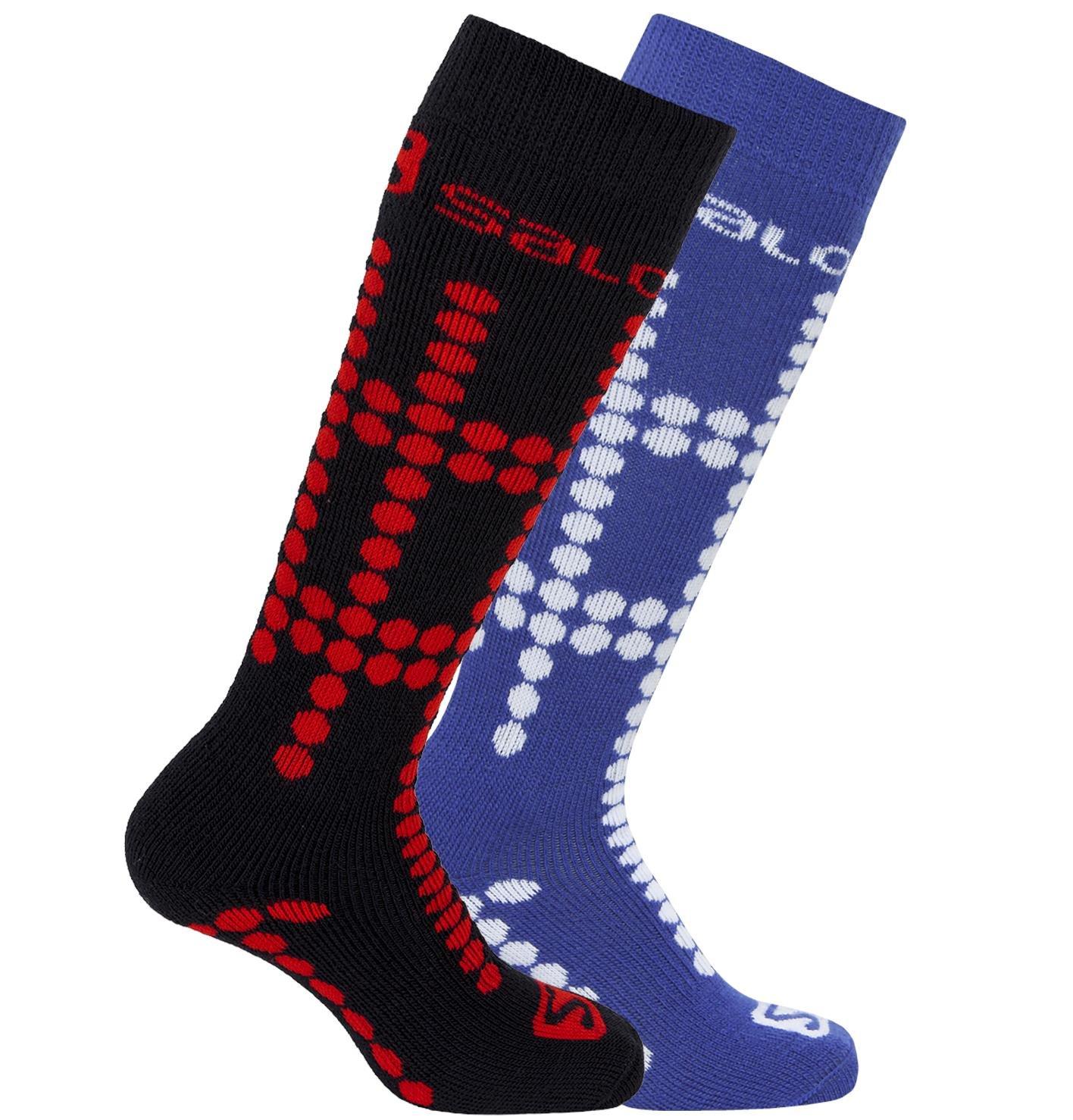 Salomon Team Kids Ski Socks Twin Pack, White/Matador