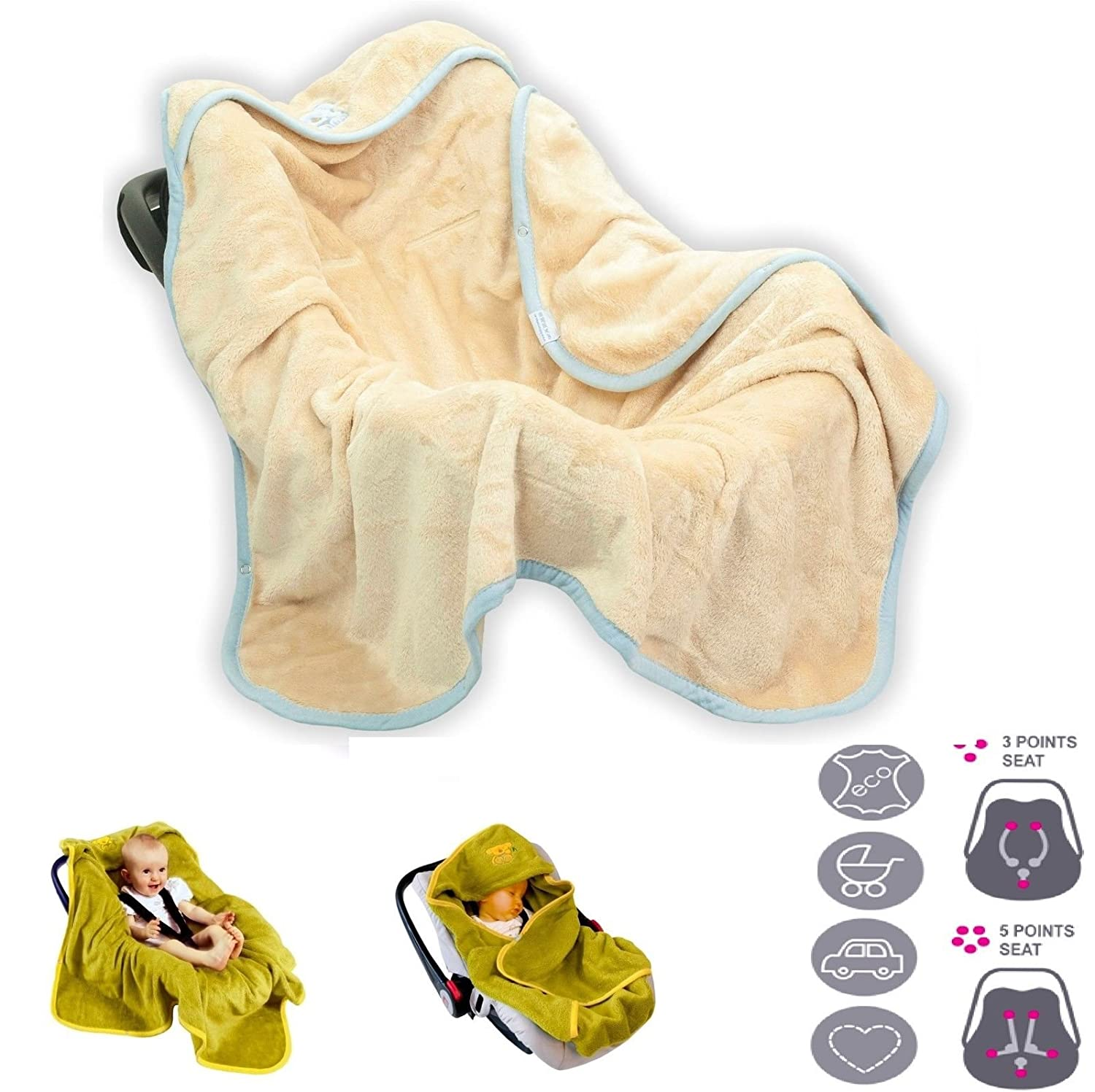 Car Seat Stroller Koala Swaddle Blanket Wrap Cosytoes Footmuffs Seat Belt Slots Beige BabyMatex