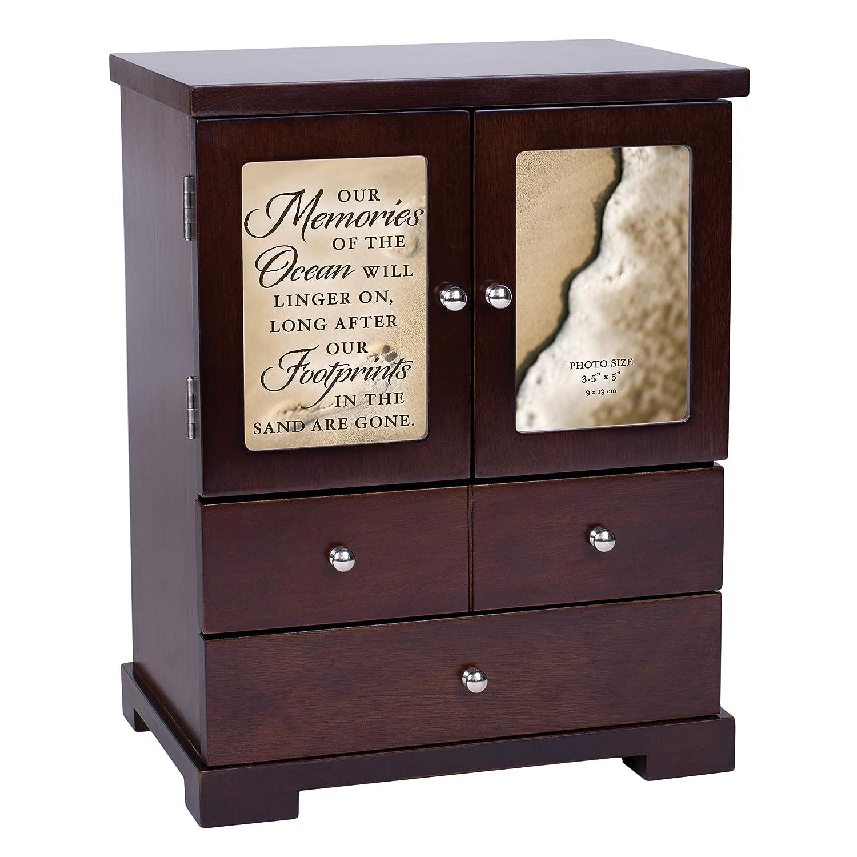 Elanze Designs Memories of Ocean Linger On 12 x 10 Walnut Wood Finish Jewelry Armoire